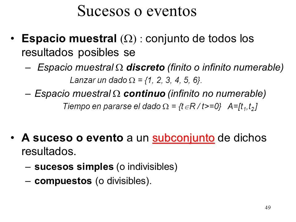 Sucesos o eventos Espacio muestral (W) : conjunto de todos los resultados posibles se. Espacio muestral W discreto (finito o infinito numerable)