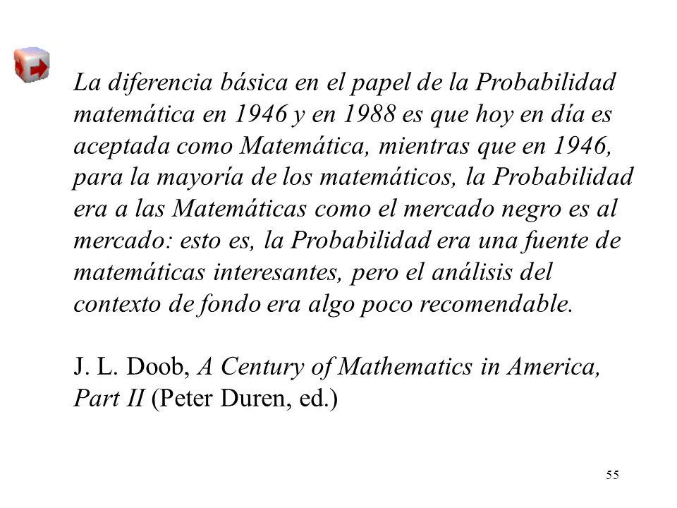 La diferencia básica en el papel de la Probabilidad matemática en 1946 y en 1988 es que hoy en día es aceptada como Matemática, mientras que en 1946, para la mayoría de los matemáticos, la Probabilidad era a las Matemáticas como el mercado negro es al mercado: esto es, la Probabilidad era una fuente de matemáticas interesantes, pero el análisis del contexto de fondo era algo poco recomendable.