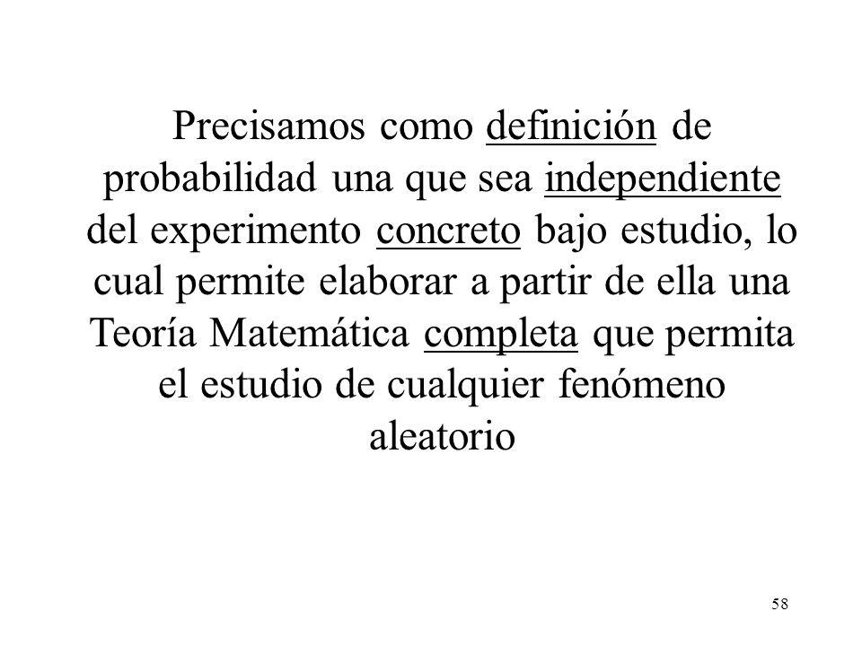 Precisamos como definición de probabilidad una que sea independiente del experimento concreto bajo estudio, lo cual permite elaborar a partir de ella una Teoría Matemática completa que permita el estudio de cualquier fenómeno aleatorio