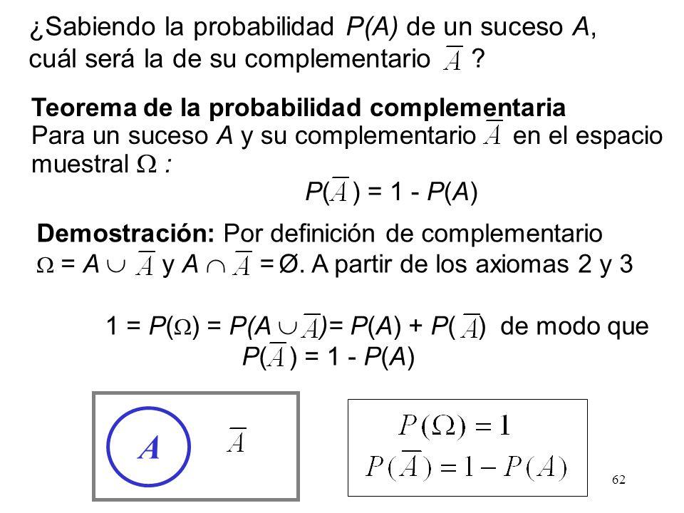 ¿Sabiendo la probabilidad P(A) de un suceso A, cuál será la de su complementario