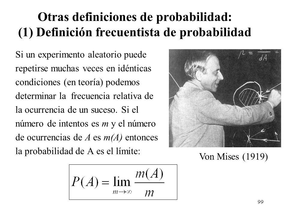 Otras definiciones de probabilidad: (1) Definición frecuentista de probabilidad