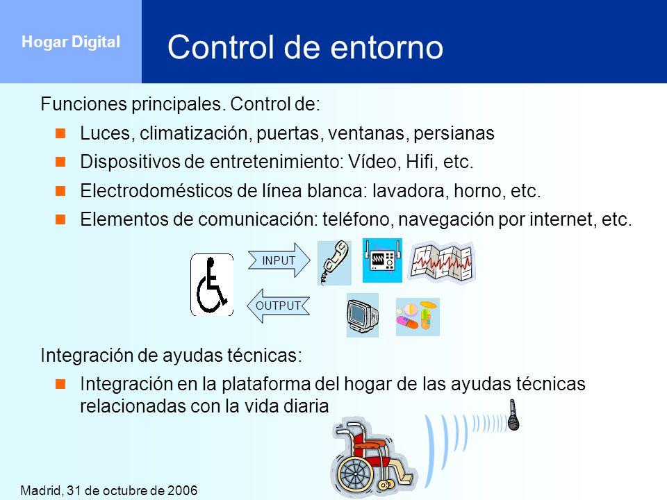 Control de entorno Funciones principales. Control de: