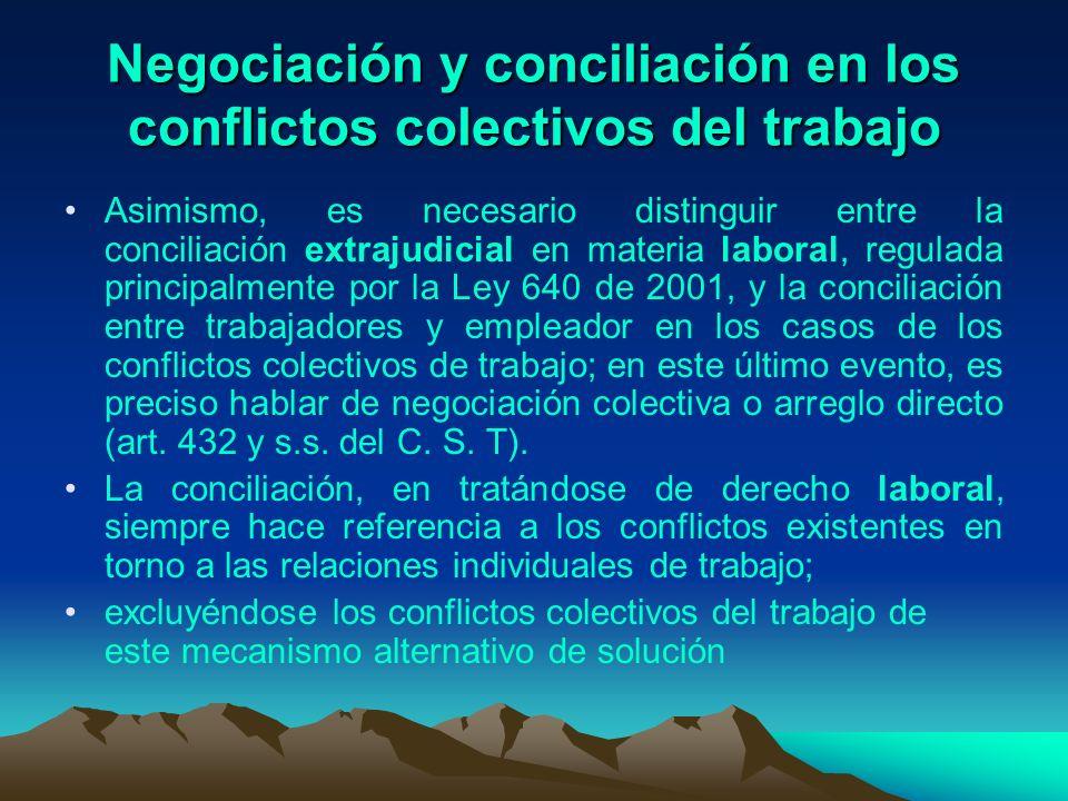 Negociación y conciliación en los conflictos colectivos del trabajo