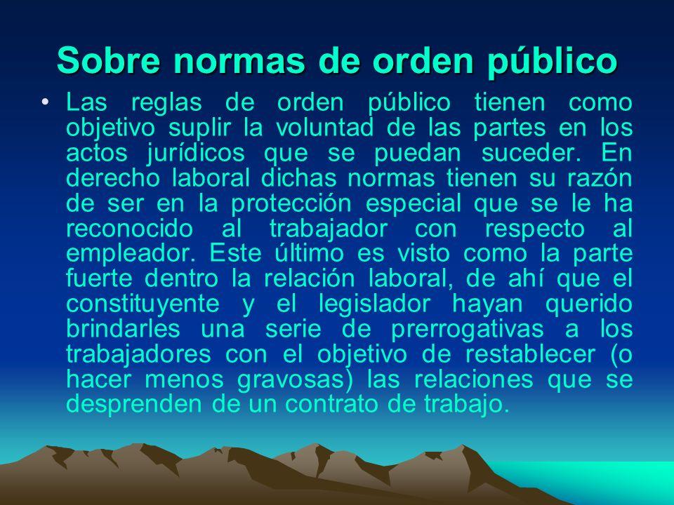 Sobre normas de orden público