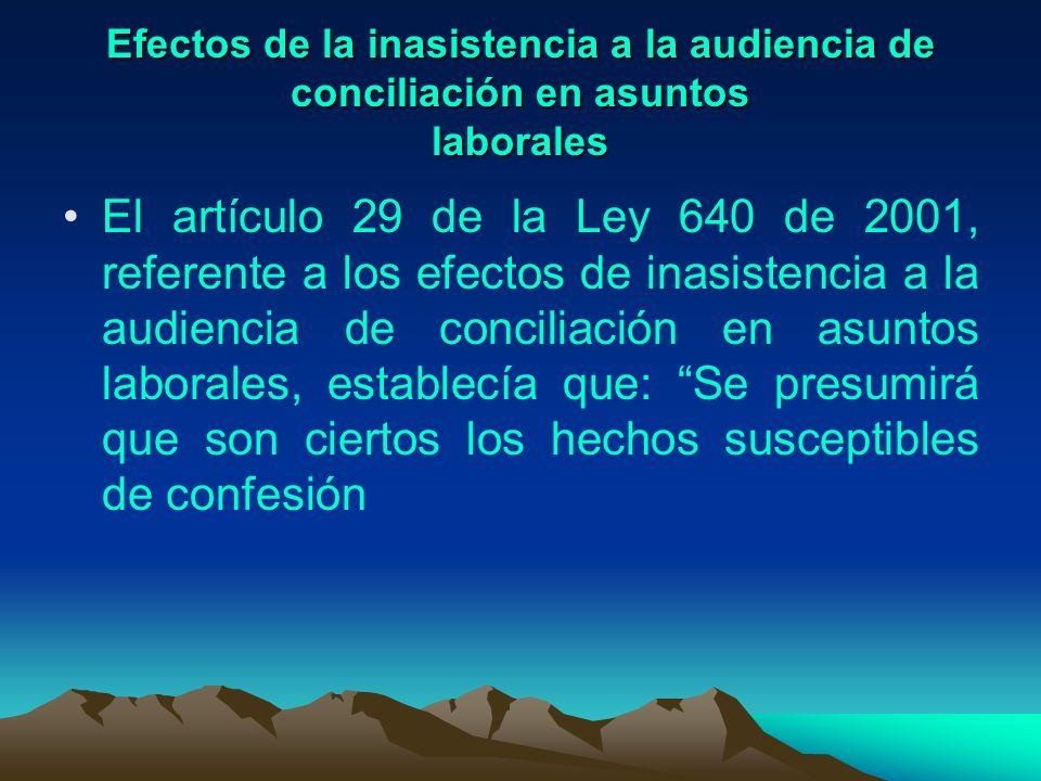 Efectos de la inasistencia a la audiencia de conciliación en asuntos laborales