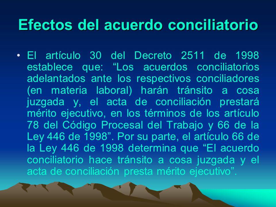 Efectos del acuerdo conciliatorio