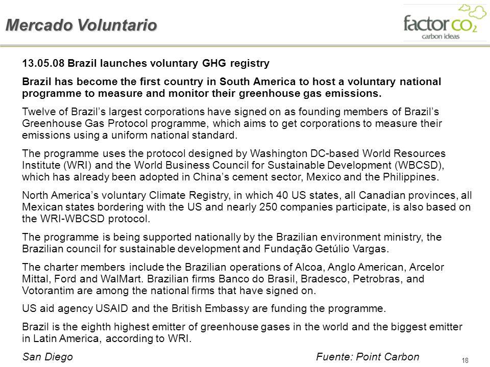 Mercado Voluntario 13.05.08 Brazil launches voluntary GHG registry