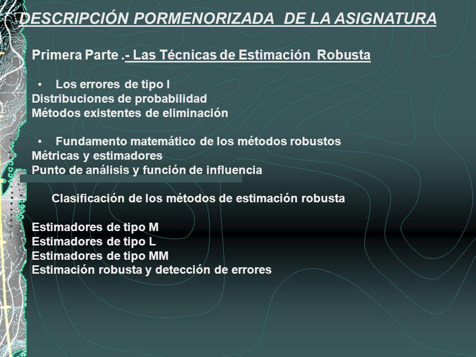 DESCRIPCIÓN PORMENORIZADA DE LA ASIGNATURA