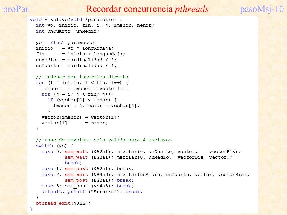 proPar Recordar concurrencia pthreads pasoMsj-10