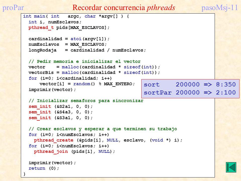 proPar Recordar concurrencia pthreads pasoMsj-11