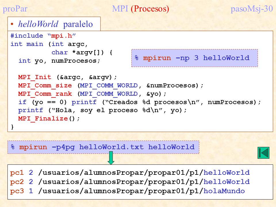 proPar MPI (Procesos) pasoMsj-30