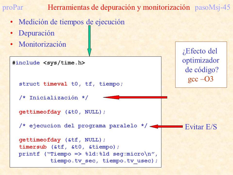 proPar Herramientas de depuración y monitorización pasoMsj-45