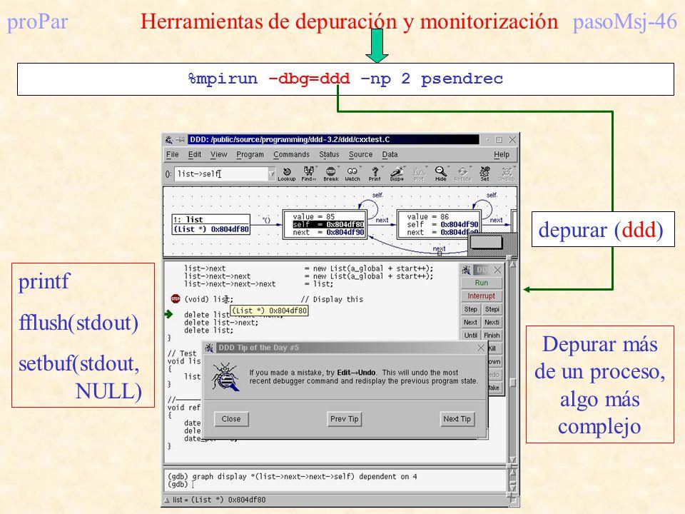 proPar Herramientas de depuración y monitorización pasoMsj-46