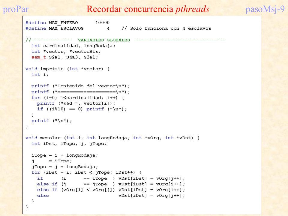 proPar Recordar concurrencia pthreads pasoMsj-9