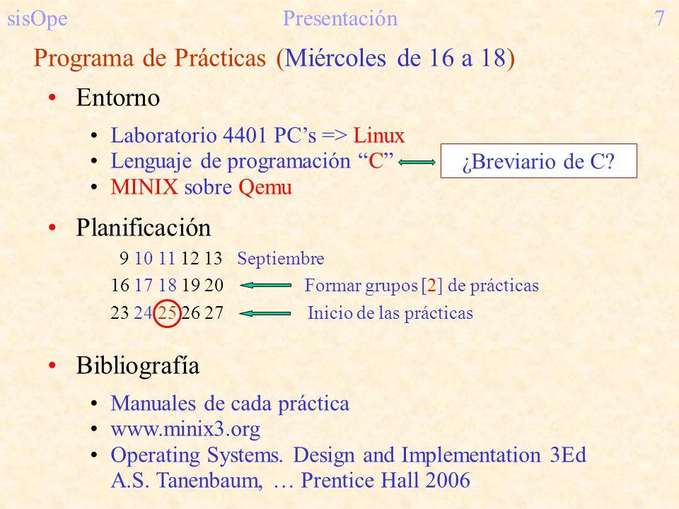 Programa de Prácticas (Miércoles de 16 a 18) Entorno