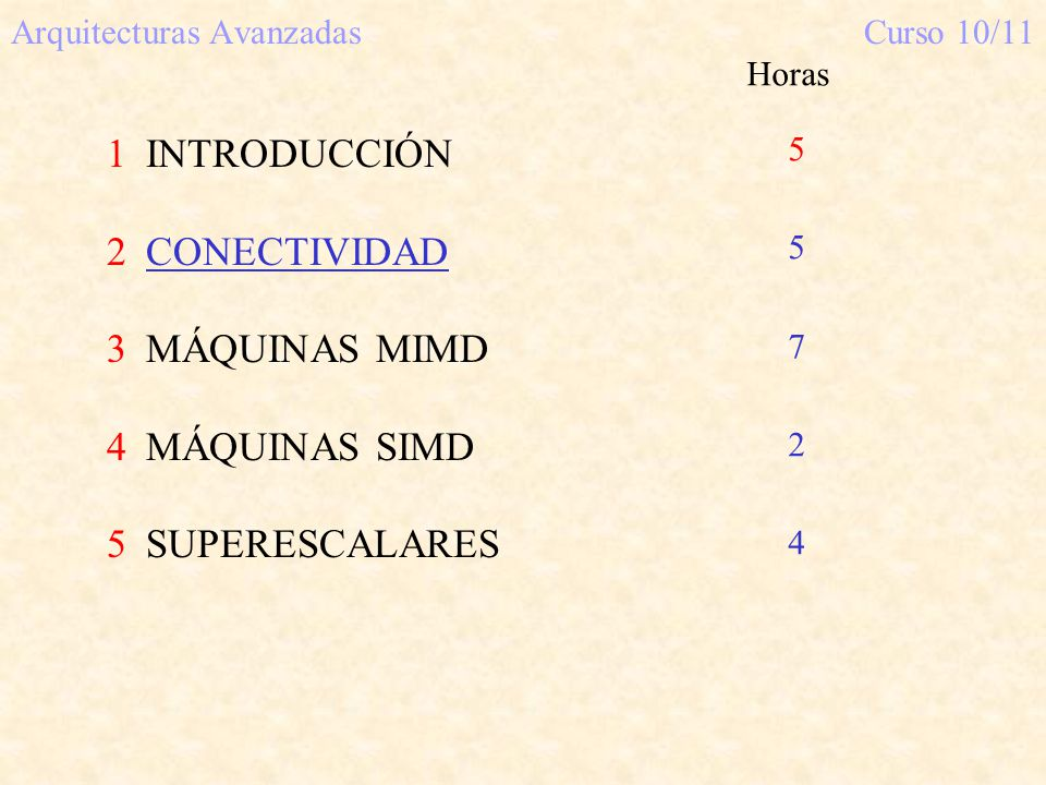 Arquitecturas Avanzadas Curso 10/11