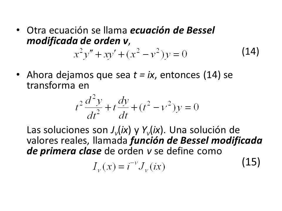 Otra ecuación se llama ecuación de Bessel modificada de orden v, (14)