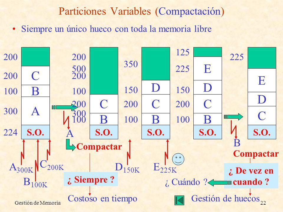 Particiones Variables (Compactación)
