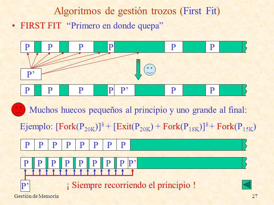 Algoritmos de gestión trozos (First Fit)