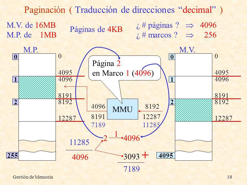 Paginación ( Traducción de direcciones decimal )