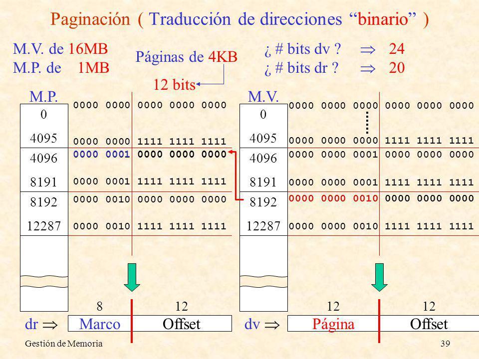 Paginación ( Traducción de direcciones binario )