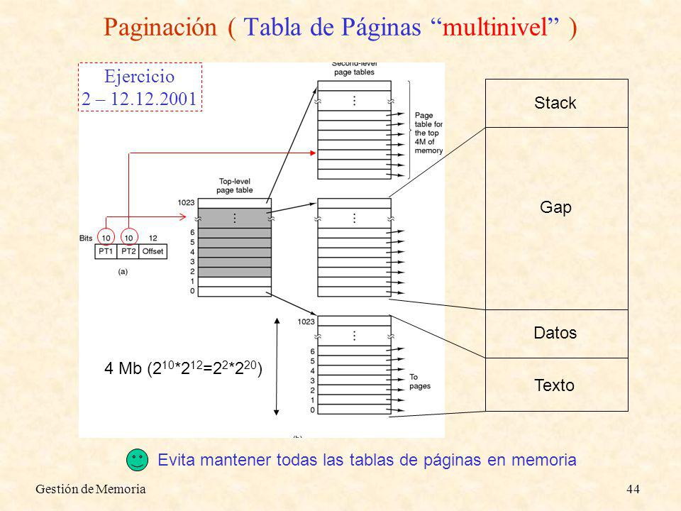 Paginación ( Tabla de Páginas multinivel )