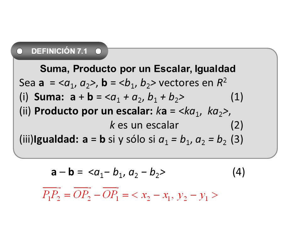 a – b = <a1− b1, a2 − b2> (4)