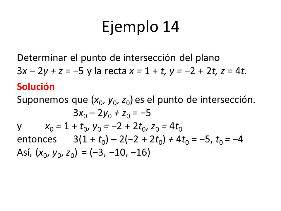 Ejemplo 14 Determinar el punto de intersección del plano 3x – 2y + z = −5 y la recta x = 1 + t, y = −2 + 2t, z = 4t.