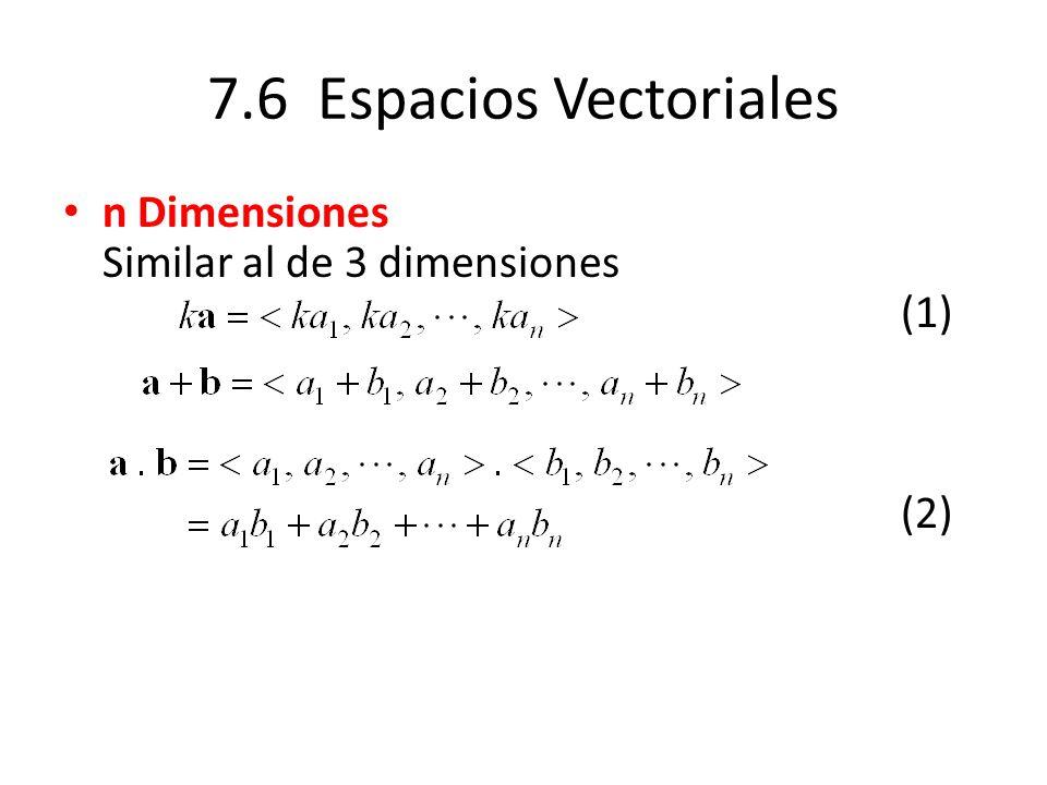 7.6 Espacios Vectoriales n Dimensiones Similar al de 3 dimensiones (1) (2)