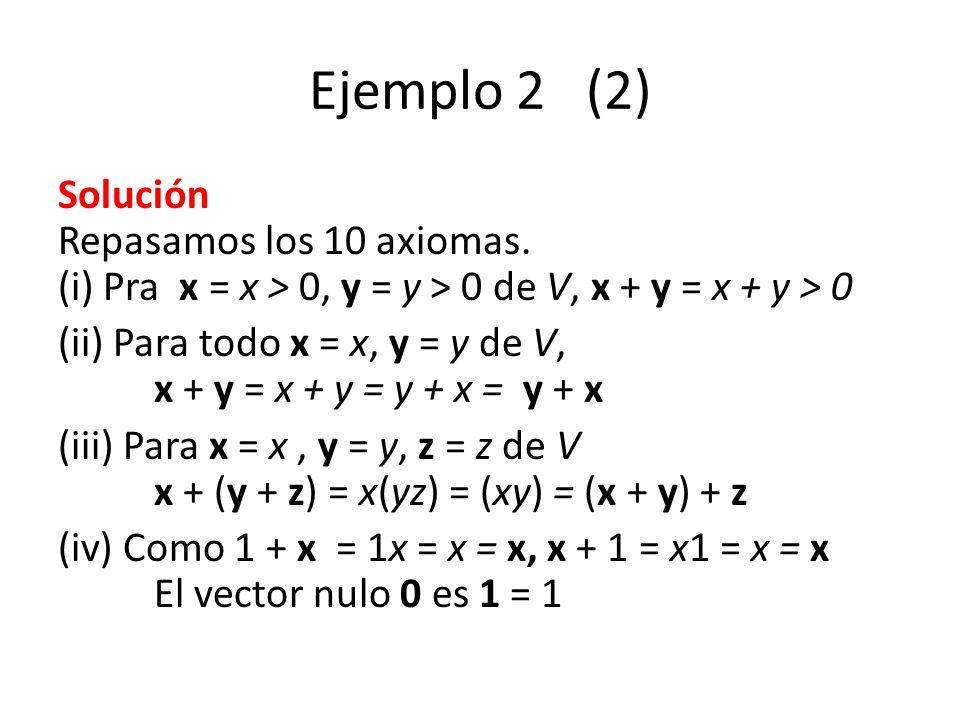 Ejemplo 2 (2) Solución Repasamos los 10 axiomas. (i) Pra x = x > 0, y = y > 0 de V, x + y = x + y > 0.