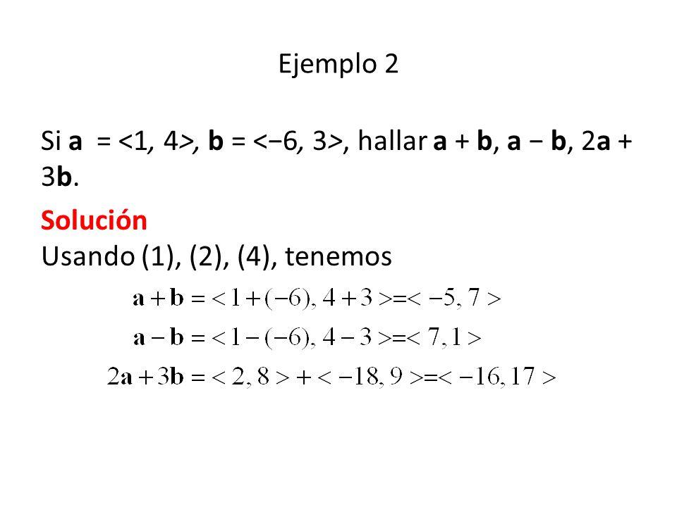 Ejemplo 2 Si a = <1, 4>, b = <−6, 3>, hallar a + b, a − b, 2a + 3b.