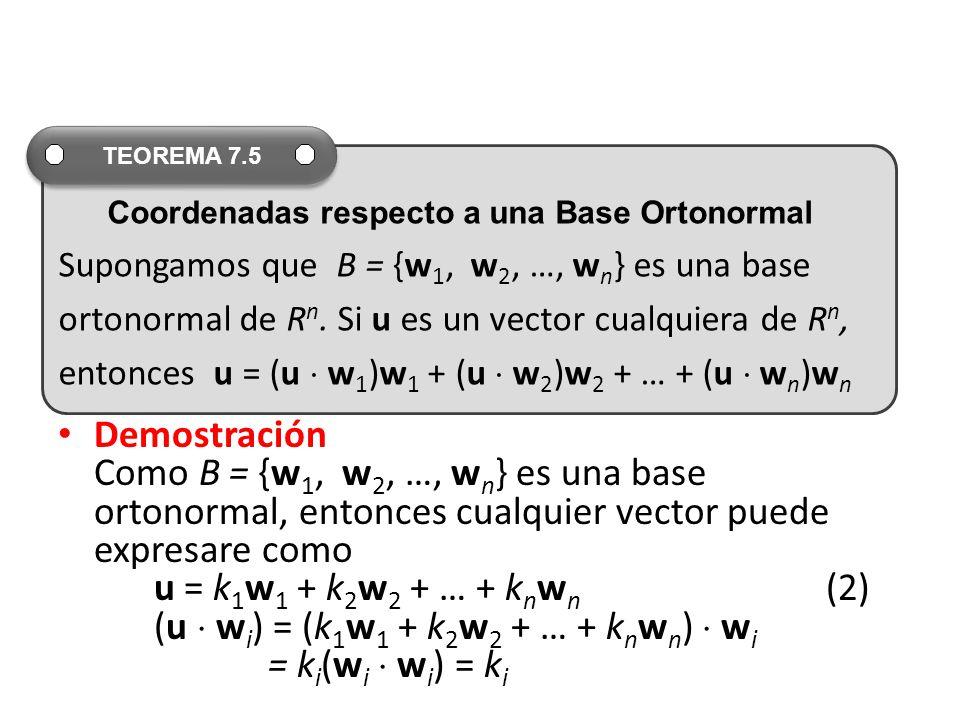 TEOREMA 7.5 Supongamos que B = {w1, w2, …, wn} es una base. ortonormal de Rn. Si u es un vector cualquiera de Rn,