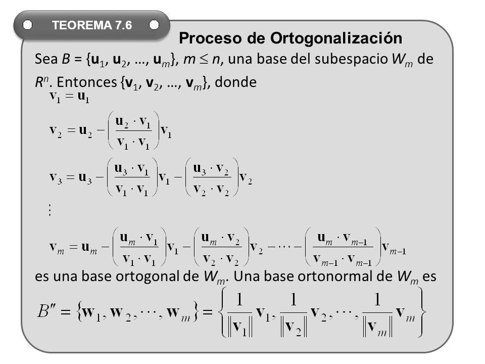 Sea B = {u1, u2, …, um}, m  n, una base del subespacio Wm de