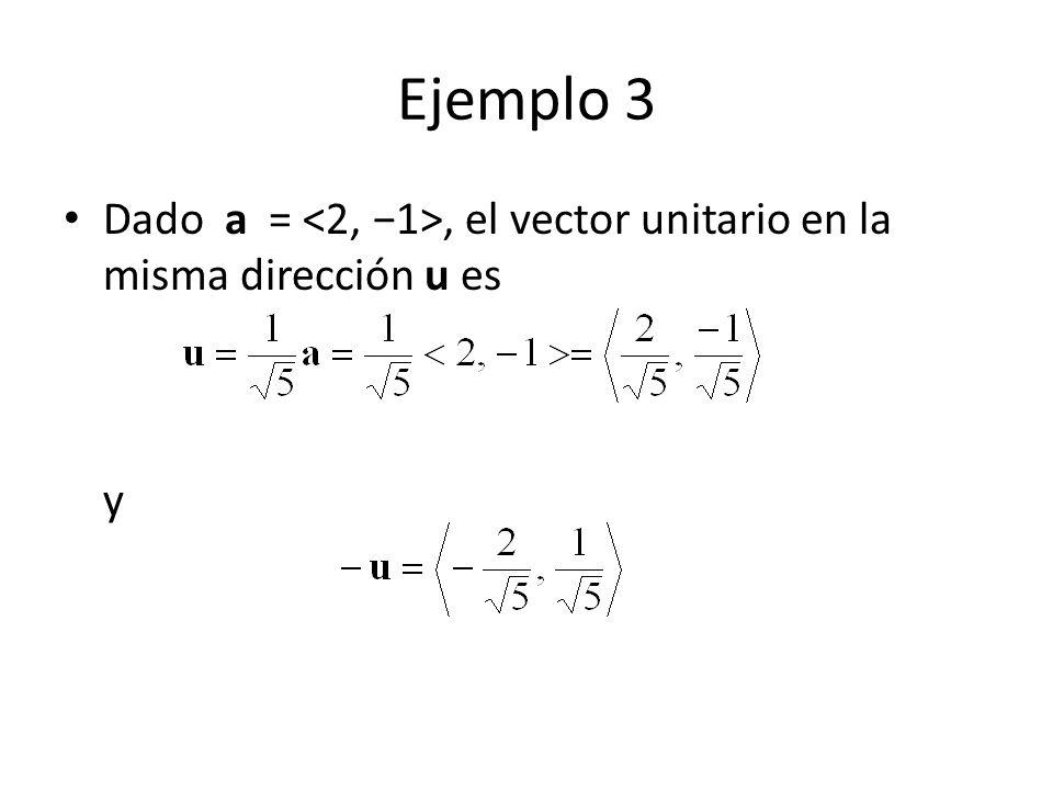 Ejemplo 3 Dado a = <2, −1>, el vector unitario en la misma dirección u es y