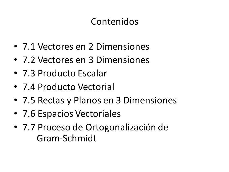 Contenidos 7.1 Vectores en 2 Dimensiones. 7.2 Vectores en 3 Dimensiones. 7.3 Producto Escalar. 7.4 Producto Vectorial.