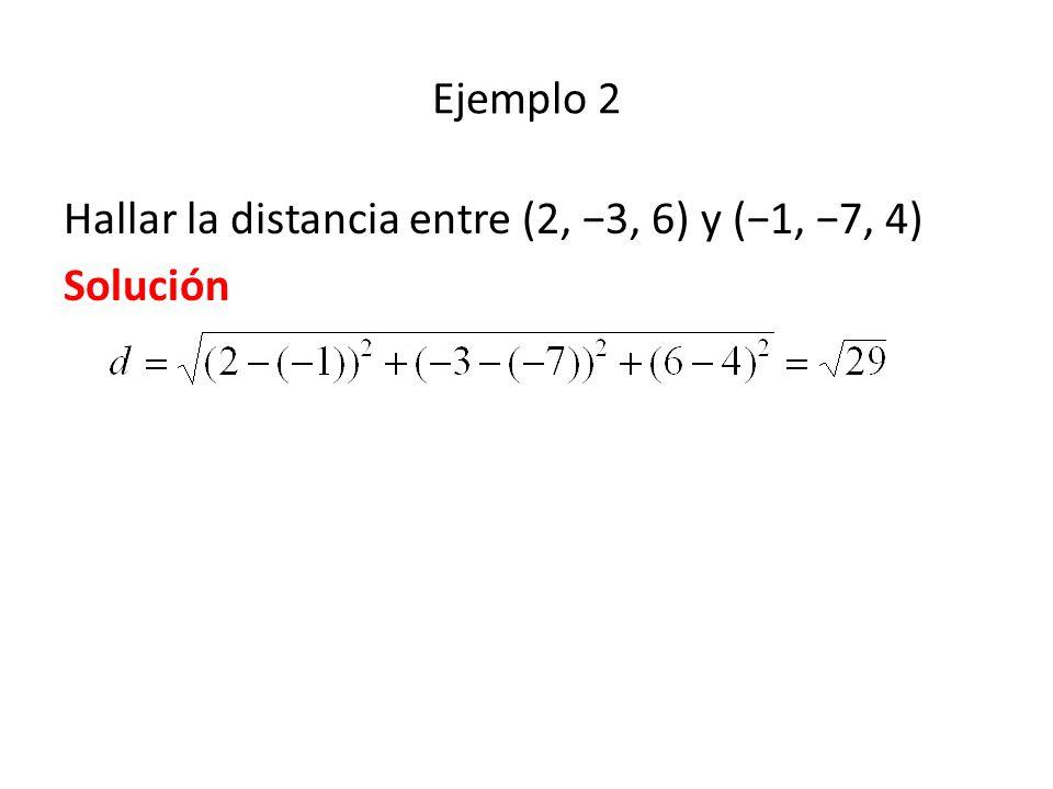Ejemplo 2 Hallar la distancia entre (2, −3, 6) y (−1, −7, 4) Solución