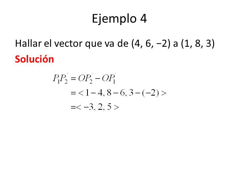 Ejemplo 4 Hallar el vector que va de (4, 6, −2) a (1, 8, 3) Solución