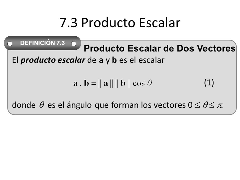 7.3 Producto Escalar Producto Escalar de Dos Vectores