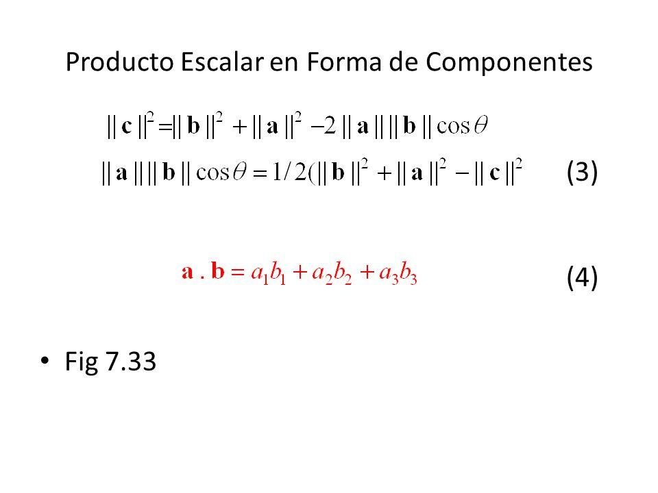 Producto Escalar en Forma de Componentes