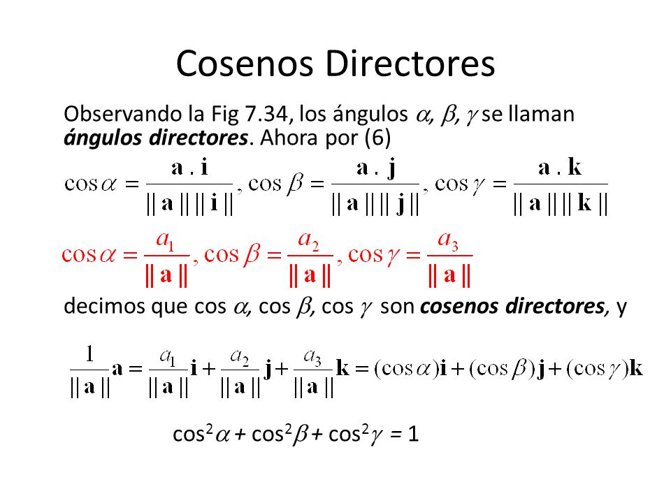 Cosenos Directores Observando la Fig 7.34, los ángulos , ,  se llaman ángulos directores. Ahora por (6)