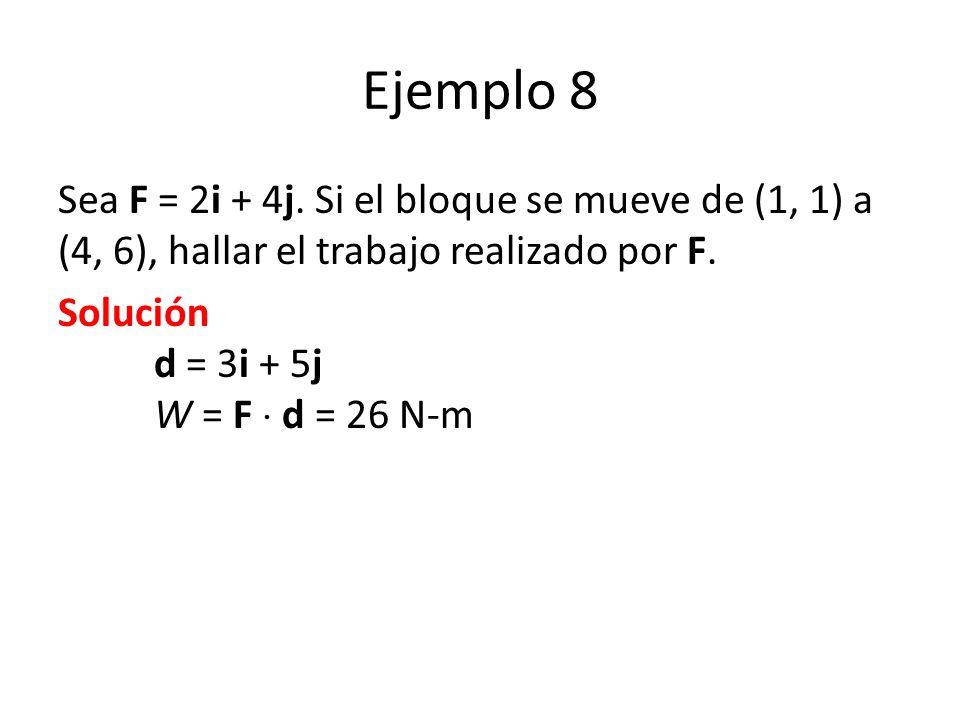 Ejemplo 8 Sea F = 2i + 4j. Si el bloque se mueve de (1, 1) a (4, 6), hallar el trabajo realizado por F.