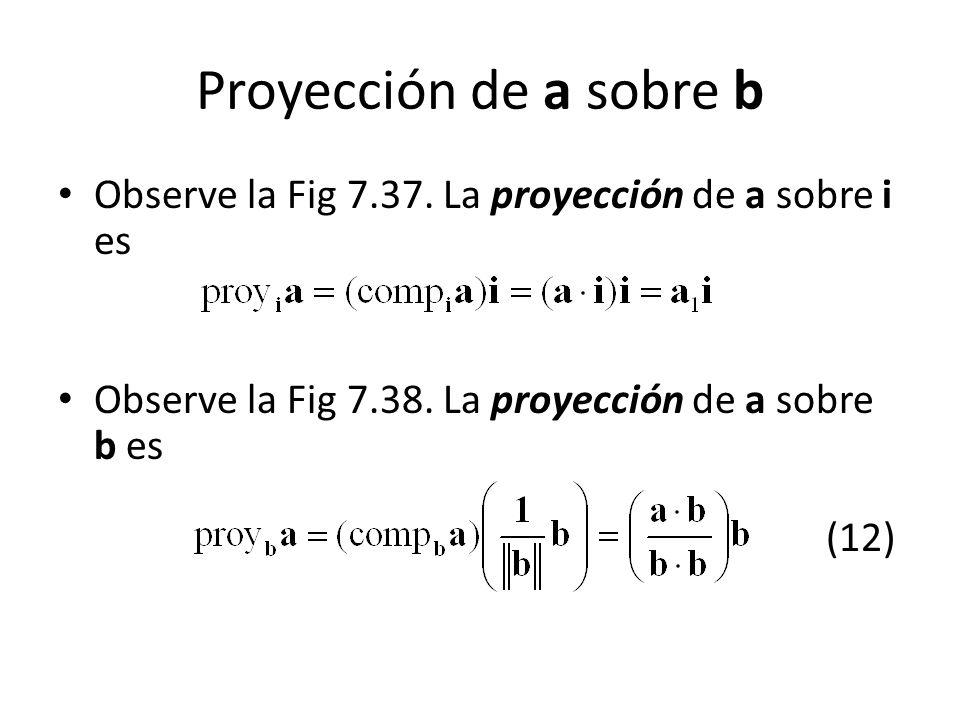 Proyección de a sobre b Observe la Fig 7.37. La proyección de a sobre i es.