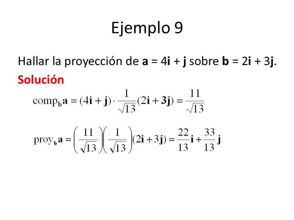 Ejemplo 9 Hallar la proyección de a = 4i + j sobre b = 2i + 3j.