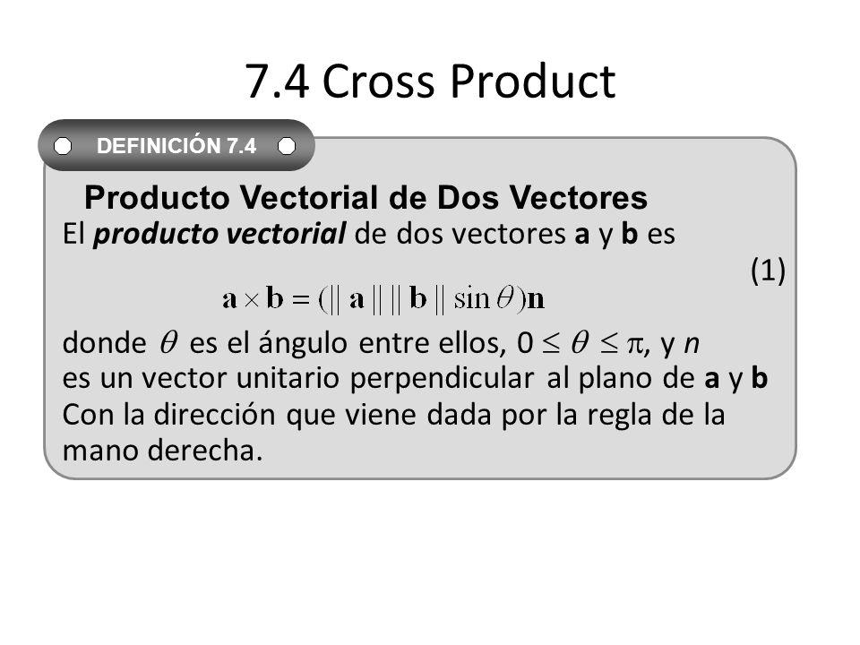7.4 Cross Product El producto vectorial de dos vectores a y b es (1) donde  es el ángulo entre ellos, 0    , y n.