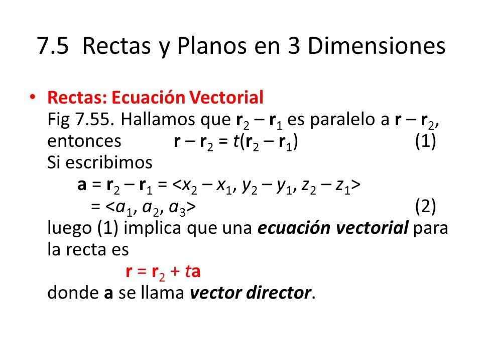 7.5 Rectas y Planos en 3 Dimensiones