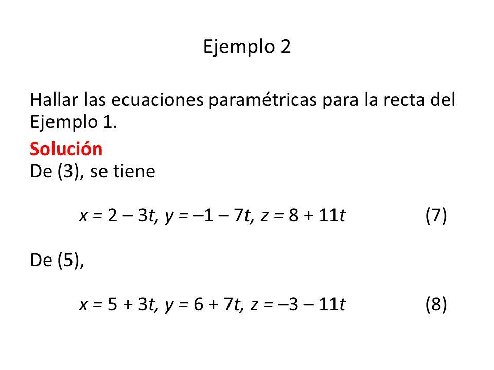 Ejemplo 2 Hallar las ecuaciones paramétricas para la recta del Ejemplo 1.