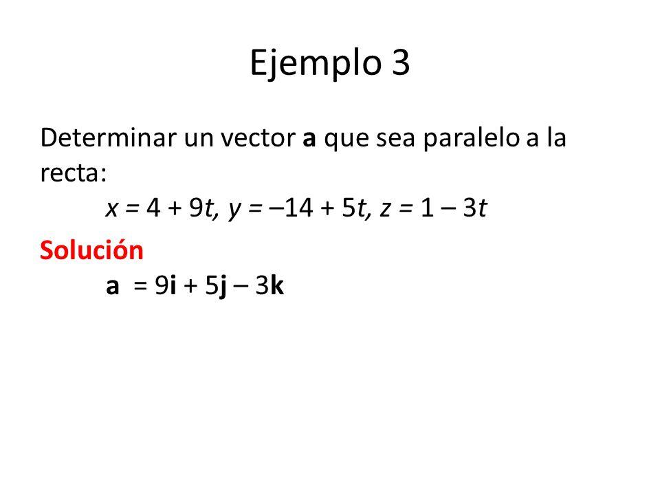Ejemplo 3 Determinar un vector a que sea paralelo a la recta: x = 4 + 9t, y = –14 + 5t, z = 1 – 3t.