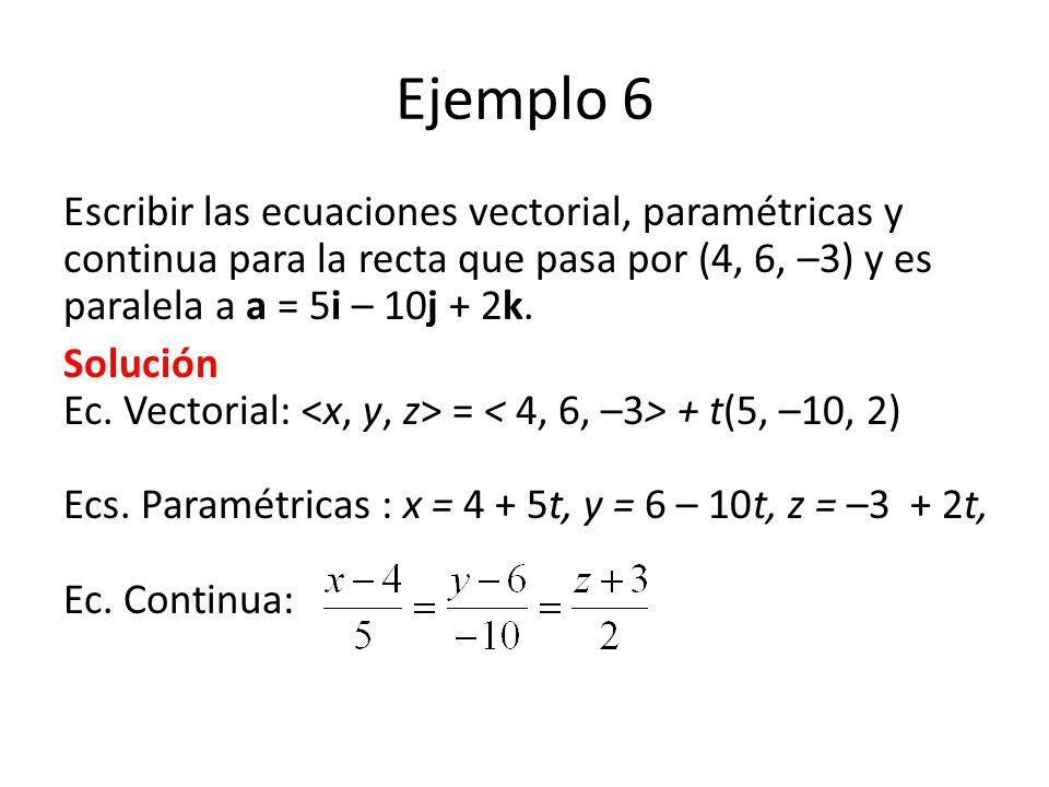 Ejemplo 6 Escribir las ecuaciones vectorial, paramétricas y continua para la recta que pasa por (4, 6, –3) y es paralela a a = 5i – 10j + 2k.