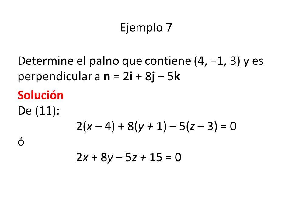 Ejemplo 7 Determine el palno que contiene (4, −1, 3) y es perpendicular a n = 2i + 8j − 5k.