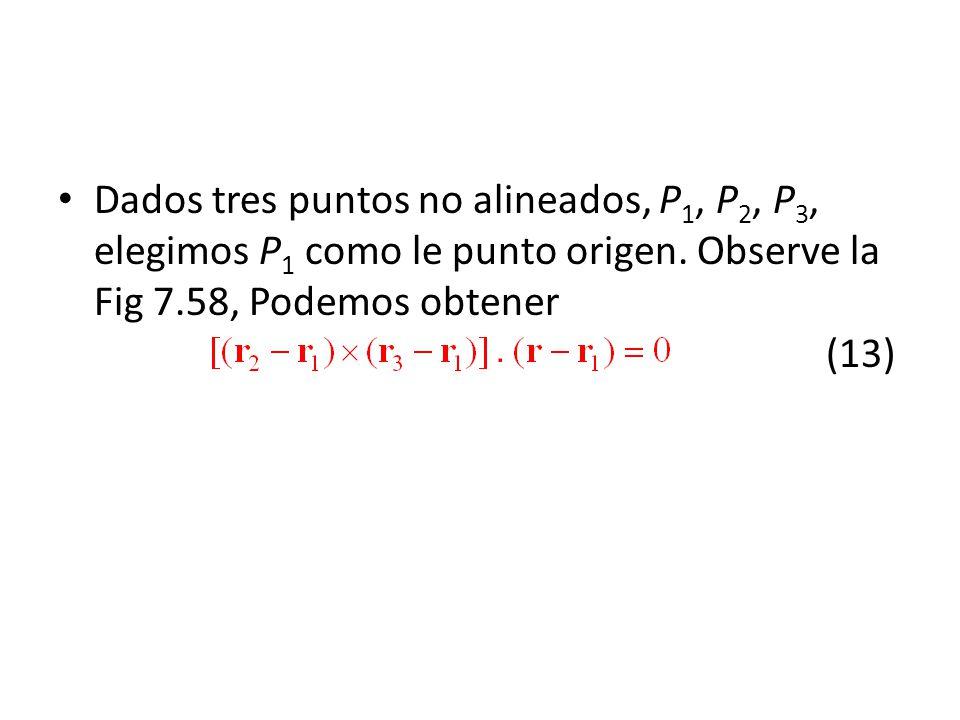 Dados tres puntos no alineados, P1, P2, P3, elegimos P1 como le punto origen.